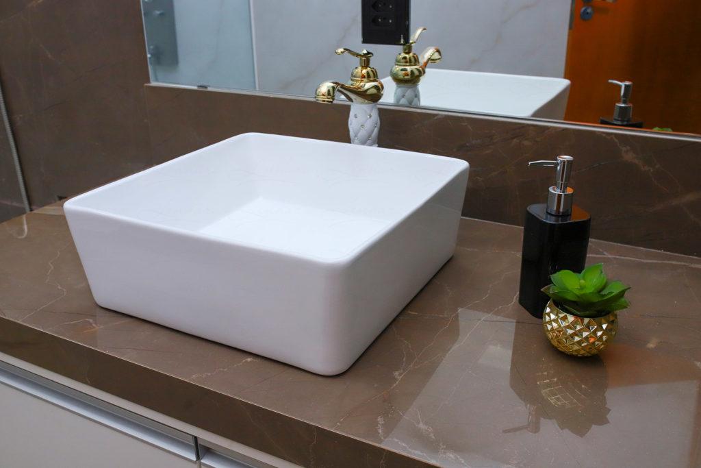 Cuba de Apoio em Cerâmica para Lavabos e Banheiros - Branca - Premium - LMS-MK-4013